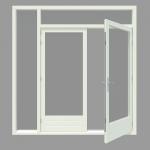 Tuindeur kozijn met 1 zijlicht inclusief 1 stel afgehangen tuindeuren. - Houten Kozijn Online